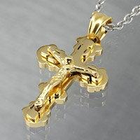 クロス 十字架 キリスト ゴールドカラー ステンレスネックレス ステンレスチェーン メンズ レディース ステンレスアクセ プレゼントに人気 送料無料