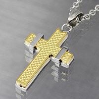 クロス 十字架 ゴールドカラー ステンレスネックレス ステンレスチェーン メンズ レディース ステンレスアクセサリー プレゼントに人気 送料無料