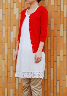 ★Special price ★ crew neck seven minutes sleeve cardigan (M, large size) (use of 2way cardigan paper pattern) fraise kit