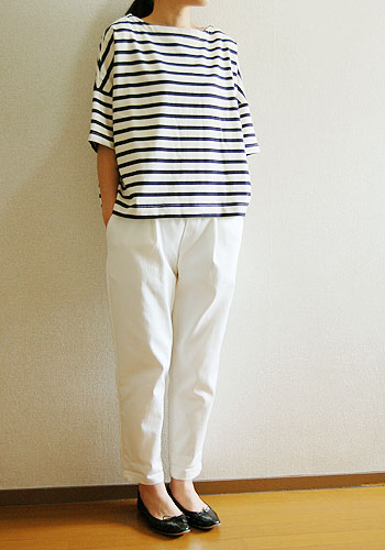 【ソーイングキット】【new】2wayドロップショルダープルオーバー型紙使用 半袖Tシャツ 16番双引き揃えボーダーキット