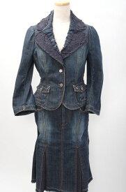 【5月25日に値下げ】EPOCAエポカ ビジューレース装飾デニムセットアップ スカートスーツ【LSTA48032】【インディゴ】【上40下38】【中古】【2点以上同時購入で送料無料】【DM180606】