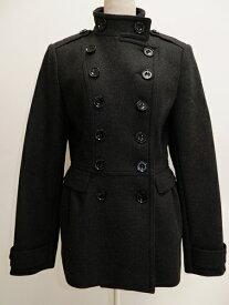 BURBERRY LONDONバーバリーロンドン 羊毛カシミヤ メルトンナポレオンコート【LCTA62233】【チャコール】【42】【中古】【2点以上同時購入で送料無料】【DM201216】