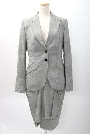 【9月12日に値下げ】ESCADAエスカーダ グレンチェックスーツ(ジャケット&スカート)【LSTA56841】【白黒】【36】【中古】【2点以上同時購入で送料無料】【DM200401】