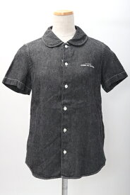 tricot COMME des GARCONSトリココムデギャルソン 丸襟ロゴ刺繍リネンデニムシャツ【LSHA59676】【ブラック】【M】【中古】【2点以上同時購入で送料無料】【DM200325】