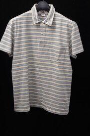 【9月7日に値下げ】RRLダブルアールエル ボーダーコットンポロシャツ未使用品【MTSA42384】【ベージュ×ライトブルー】【S】【未使用】【2点以上同時購入で送料無料】【DM170701】