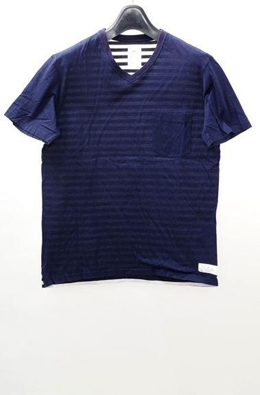 【3月24日に値下げ】Name.ネーム(ネイム) ボーダードッキングポケットTシャツ【MTSA35594】【紺白】【1】【中古】【2点以上同時購入で送料無料】【DM160716】