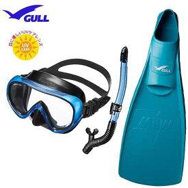 GULL(ガル) 軽器材3点セット COCO ココ マスク レイラドライ スノーケル MEW ミュー フィン 女性 向け ドルフィンスイム に最適 眼に優しいUVレンズ搭載 紫外線対策 安心の日本製