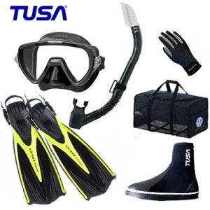 *TUSA* 軽器材6点セット M-19 マスク&スノーケル SF0102フィン DB-3014 ブーツ マリングローブ&メッシュバッグBA0105 ダイビング スキューバ ランキング人気商品●メーカー在庫確認しま