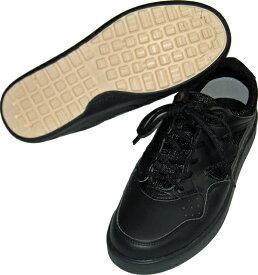 【ミドリ安全】 ひも 軽量 超耐滑 業務用 厨房靴 調理靴 厨房シューズ超耐滑作業靴 コックシューズ 食品加工用靴メッシュ スニーカー 抗菌 防臭 クロ油、水などの床面でも滑りにくい業務用短靴 カラー ブラック