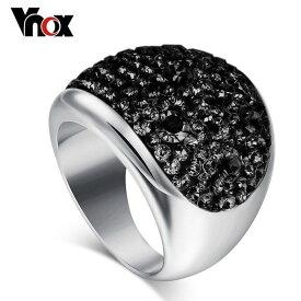 レディース リング 指輪 カラー 大きい クリスタル オーストリア ブラック ステンレス