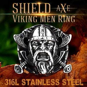 【送料無料】 指輪 リング メンズ 高品質 ジュエリー アミュレット シールド バイキング チャーム オーディン パンク 斧 316Lサージカル ステンレス 316L 高級 ごつい 1-16号 2-18号 3-20号 4-23号 5-2