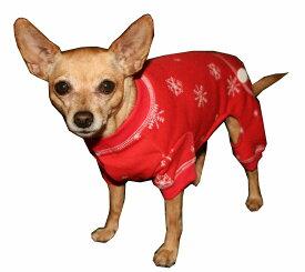 【HIP DOGGIE】冬物20%OFFアウトレット Red Snowflake Longjohns XS-M 犬 服 小型 子犬 中型 おしゃれ かわいい 防寒 暖かい フリース クリスマス 雪柄 秋 冬服 10FSP