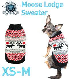 【HIP DOGGIE】冬物20%OFFアウトレット Moose Lodge Sweater XS-M 犬 服 小型 子犬 中型 おしゃれ かわいい 防寒 暖かい トナカイ クリスマス セーター 秋 冬 7MSTN