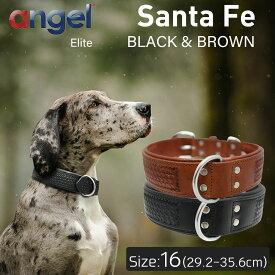 【Angel】アウトレット エンジェル Santa Fe サンタフェ16インチ 首輪 犬 アルゼンチン産 牛革 本革 真鍮 小型 子犬 大型 中型 高級 シンプル 錆びにくい