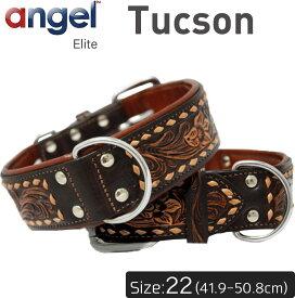 【Angel】アウトレット エンジェル Tucson 22インチ 首輪 犬 アルゼンチン産 牛革 本革 真鍮 子犬 小型 大型 中型 高級 手彫り 錆びにくい
