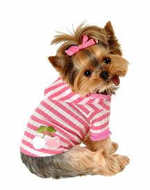 【HIP DOGGIE】10%OFF アウトレット HD Pink Stripe Cherry Hoodie XS-M 犬 服 小型 子犬 中型 おしゃれ かわいい 春 夏 さくらんぼ パーカー 2PSCH