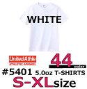 【S-XLサイズ】【ホワイト・白】5.0オンス無地半袖Tシャツ United Athle(ユナイテッドアスレ) メンズ・レディース・無地Tシャツ・5401-01【830】