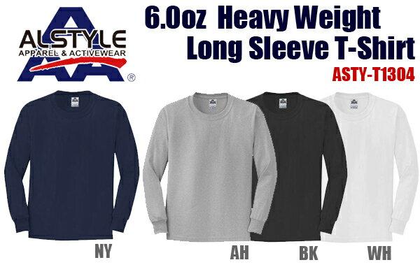 ALSTYLE(アルスタイル)6.0oz ヘヴィウェイト ロングスリーブ Tシャツ【1304】AAA・長袖・ネックリブシングルステッチ【無地長そでメンズ】ベーシック【1123】