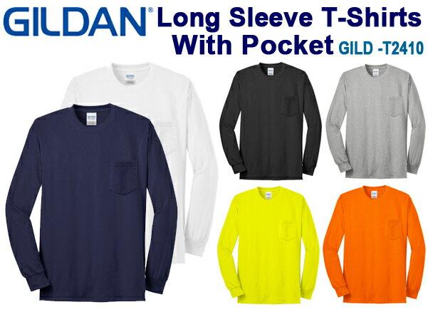 ポケット付きロングスリーブTシャツ GILDAN(ギルダン)6.0oz 【ウルトラコットン】(無地ロンT・長袖・アダルトサイズ・メンズ)【2410】 (0215)