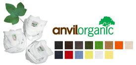 【処分品】anvil(アンビル)5.0oz オーガニックコットンTシャツ(TOR42)【メンズSML】/無地・半袖  レッド グリーン【0715】
