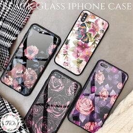 iphoneケース iphone8 iphoneXR xsmax 8plus ブラック 強化ガラス 花柄 薔薇 ローズ レトロ アンティーク風 キラキラ 大人可愛い おしゃれ ストラップホール付き iphonexs 7 7plus 6s 6splus スマホケース かわいい 上品 アイフォン iphone6s 韓国 送料無料