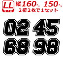 2桁 ゼッケン 枠付 ナンバー 数字 ステッカー LLサイズ2枚選べる数字とカラーとサイズ