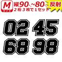 高級 反射 ゼッケン 2桁 枠付 ナンバー 数字 ステッカー Mサイズ3枚選べる数字とカラーとサイズ