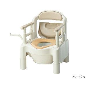アズワン ポータブルトイレ FX-CP(ちびくまくん)快適脱臭・補高スペーサー付きベージュ 1個 [7-2670-01]