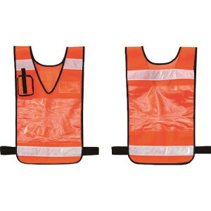 ■緑十字 差し込み式メッシュ安全ベスト オレンジ 600×360MM 反射材付 両面表示 〔品番:237220〕[TR-1064661][送料別途見積り][法人・事業所限定][掲外取寄]