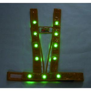 ■ミズケイ LEDタスキ型安全ベスト「光るんです」<ゴールド/緑LED> 3020003 (株)ミズケイ[TR-1157214]