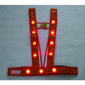 ■ミズケイ LEDタスキ型安全ベスト「光るんです」<オレンジ/赤LED> 3020011 (株)ミズケイ[TR-1157216]