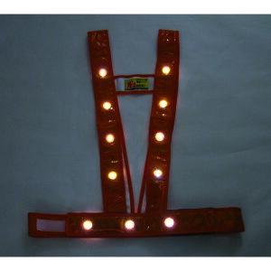 ■ミズケイ LEDタスキ型安全ベスト「光るんです」<オレンジ/白LED> 3020012 (株)ミズケイ[TR-1157217]
