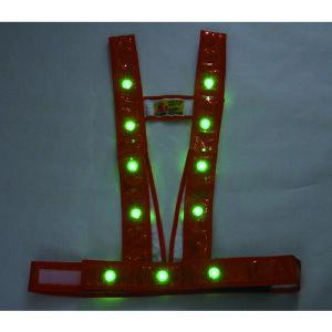 ■ミズケイ LEDタスキ型安全ベスト「光るんです」<オレンジ/緑LED> 3020013 (株)ミズケイ[TR-1157218]