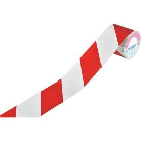 ■緑十字 ストライプ柄テープ(反射タイプ) 赤/白 90MM幅×10M 屋内用 〔品番:256309〕[TR-1673341][送料別途見積り][法人・事業所限定][掲外取寄]