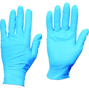■TRUSCO 使い捨てニトリル手袋TGスタンダード 0.08粉無青M 100枚 TGNN08BM(8354643)
