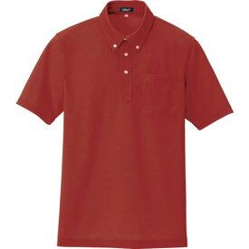■アイトス ボタンダウン半袖ポロシャツ レッド L 〔品番:10599-009-L〕[TR-1185099]