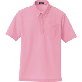 ■アイトス ボタンダウン半袖ポロシャツ ピンク LL 〔品番:10599-160-LL〕[TR-1186672]