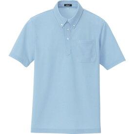 ■アイトス ボタンダウン半袖ポロシャツ ライトサックス L 〔品番:10599-017-L〕[TR-1188294]