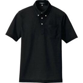 ■アイトス ボタンダウン半袖ポロシャツ ブラック S 〔品番:10599-010-S〕[TR-1194274]