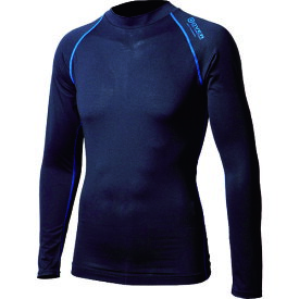 ■おたふく BTアウトラスト ロングスリーブ クルーネックシャツ ブラック/ブルー S〔品番:JW-540-38-S〕[TR-1227490]