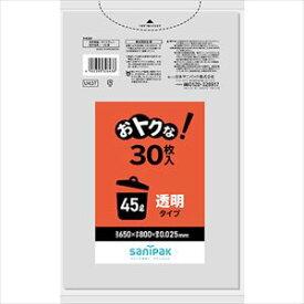 ■サニパック U43Tおとくな45L透明 30枚《20冊入》 U43TCL(1351012)×20[送料別途見積り][法人・事業所限定][掲外取寄]