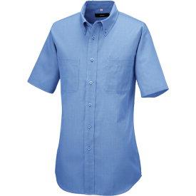 ■アイトス 半袖ボタンダウンシャツ(コードレーン)(男女兼用) サックス LL  〔品番:50402-107-LL〕[TR-1431799]
