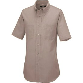 ■アイトス 半袖ボタンダウンシャツ(コードレーン)(男女兼用) モカ L  〔品番:50402-122-L〕[TR-1434929]