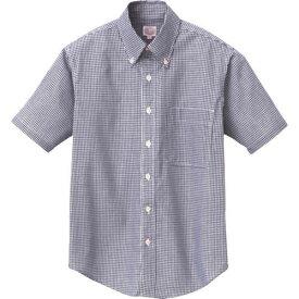 ■アイトス 半袖ギンガムチェックボタンダウンシャツ(男女兼用) ネイビー M  〔品番:7825-008-M〕[TR-1442608]