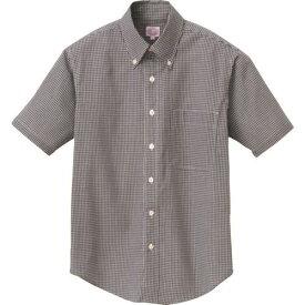 ■アイトス 半袖ギンガムチェックボタンダウンシャツ(男女兼用) ブラック 3L  〔品番:7825-010-3L〕[TR-1444173]