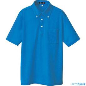 ■アイトス ボタンダウン半袖ポロシャツ ブルー M〔品番:10599-006-M〕[TR-4141776]