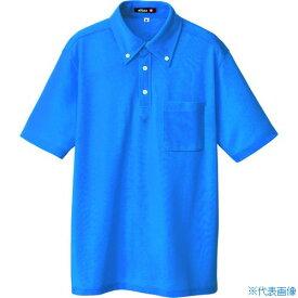 ■アイトス ボタンダウン半袖ポロシャツ ブルー 3L〔品番:10599-006-3L〕[TR-4222628]