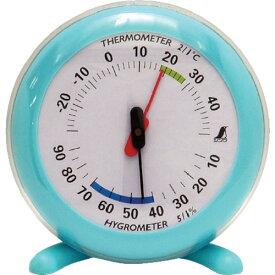 ■シンワ 温湿度計Q-2 丸型10cmライトブルー〔品番:70496〕[TR-4946812]