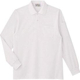 ■ミドリ安全 エコ帯電防止 長袖ポロシャツ ホワイト S 〔品番:PS210-UE-S〕[TR-7978286]
