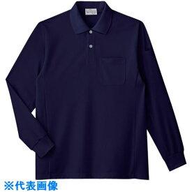 ■ミドリ安全 エコ帯電防止 長袖ポロシャツ ネイビー 3L 〔品番:PS217-UE-3L〕[TR-7978464]